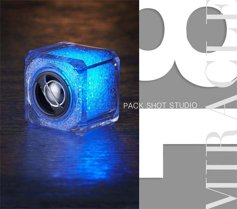 ถ่ายภาพสินค้า ผลิตภัณฑ์ ลำโพงคริสตัล เรืองแสง